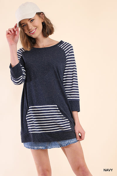 Striped and Solid Knit Kangaroo Pocket Tunic