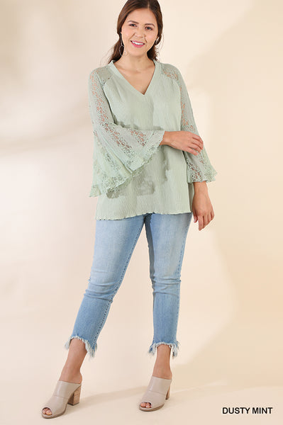 Sheer Lace Bell Sleeve V-Neck Top