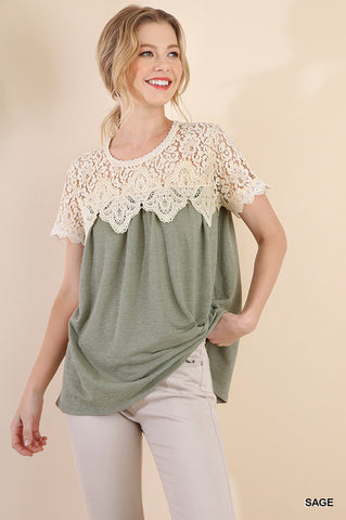 Short Sleeve Floral Crochet Top