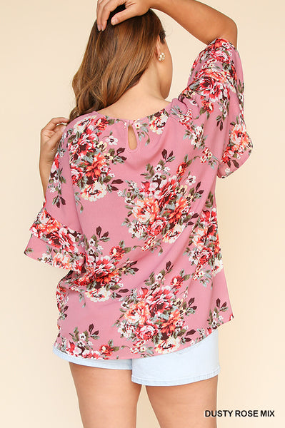 Floral Print Layered Ruffle Sleeve Top