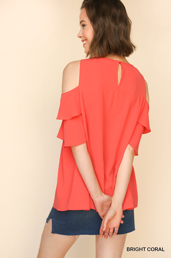 57a941bfb24a42 Layered Ruffle Sleeve Open Shoulder Top With Cutout Neckline Detail ...