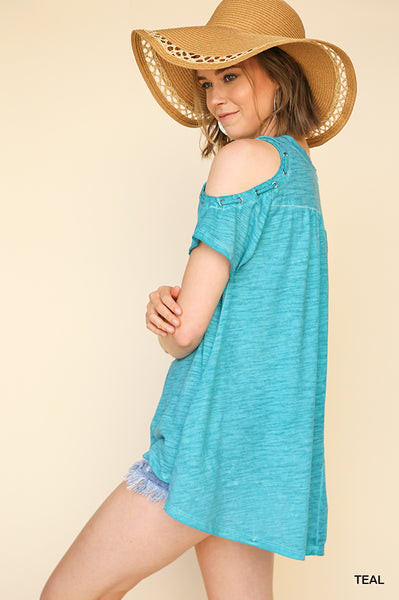 Washed Short Sleeve Open Shoulder Top with Grommet Shoulder Detail