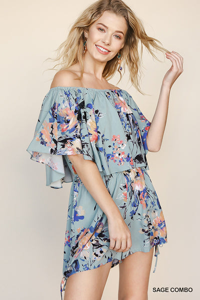 Floral Print Off The Shoulder Ruffle Sleeve Romper
