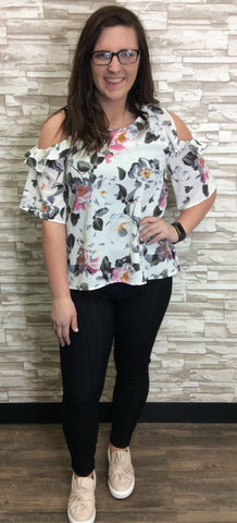 Floral Print Cold Shoulder Top With Ruffle Detail