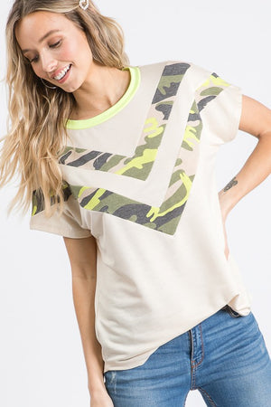Bright Spot Camo Chevron Detail Top