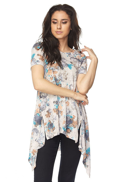 Chic Floral Print Tunic Top