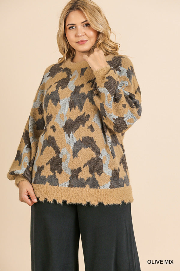 Wild About You Animal Print Fuzzy Knit Sweater