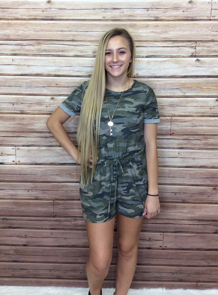 Camo Romper with Cuffed Sleeves & Pockets