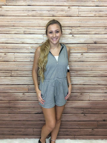 Hooded Romper With Side Pockets