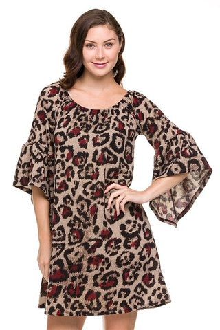 Animal Print Bell Sleeve Dress
