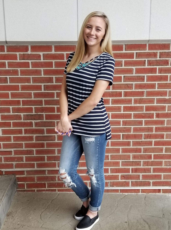 Simply Sweet Striped Criss Cross Top