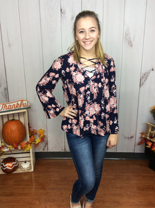 Floral Navy Cuteness Top