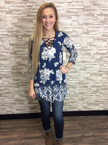 Blue/ Taupe Multi-Print Tunic With Lace-Up Neckline