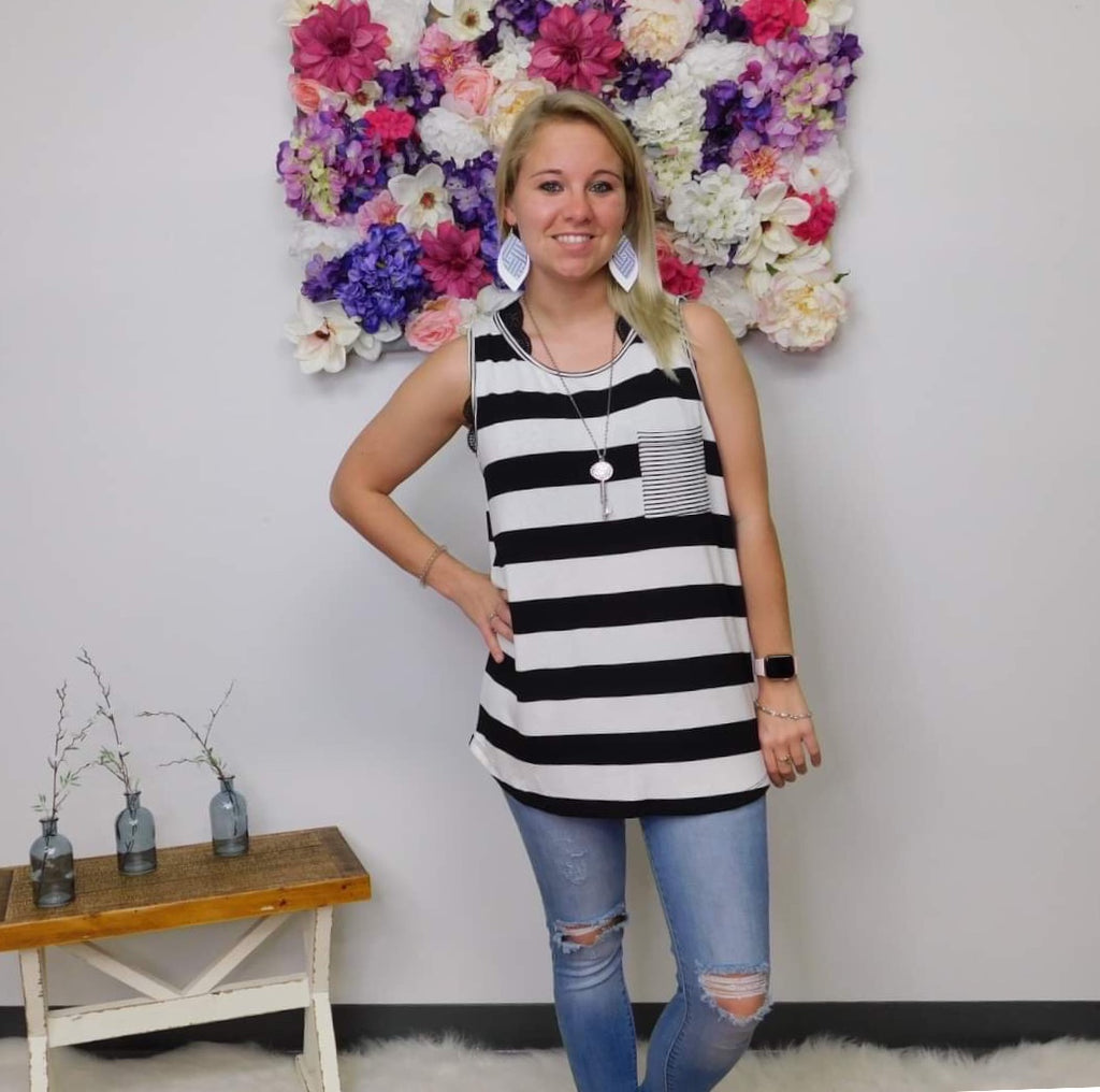 I Pull The Strings Striped Sleeveless Top- final sale