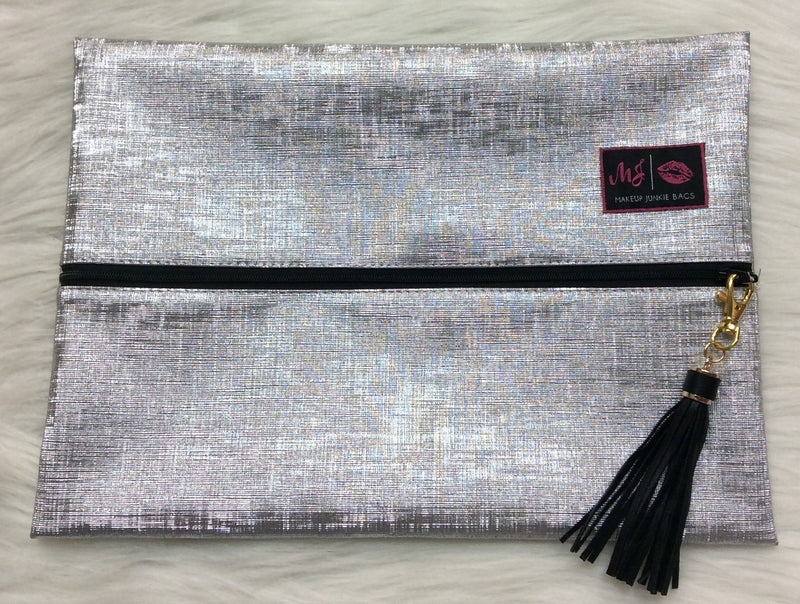 """Silver Lining"" Makeup Junkie Bag - Large"