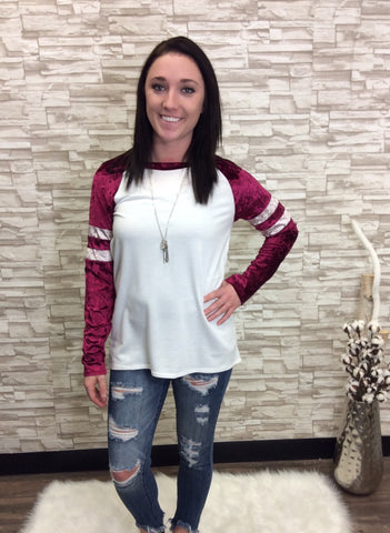 Red Cream Crushed Velvet Varsity Long Sleeve Top Baseball Tee