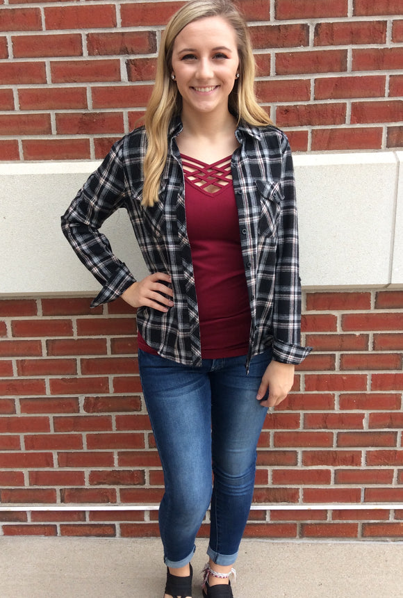 Harvest Moon Plaid Top - FINAL SALE CLEARANCE