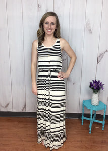 Cute As A Button Striped Maxi Dress