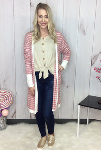 Tickled Pink Striped Long Cardigan