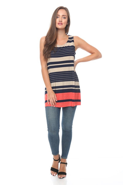 Sleeveless Top With Stripe Border Detail