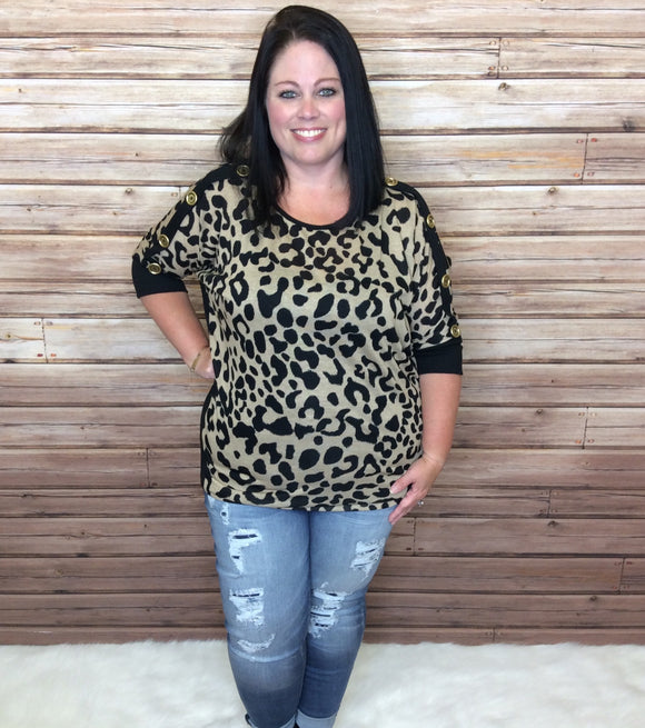 Animal Print Shirt With Dolman Sleeves