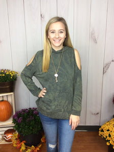 Falling Leaves Hooded Top - Olive