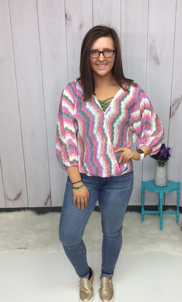 Sunday Funday Chevron Knit Top with Surplice Neckline