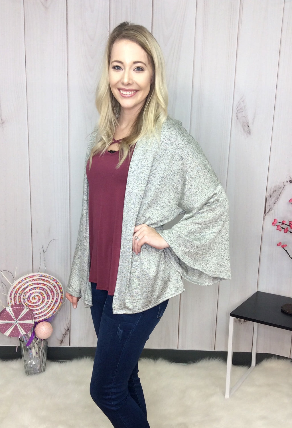 Classic With A Twist Bell Sleeve Open Cardigan - FINAL SALE CLEARANCE