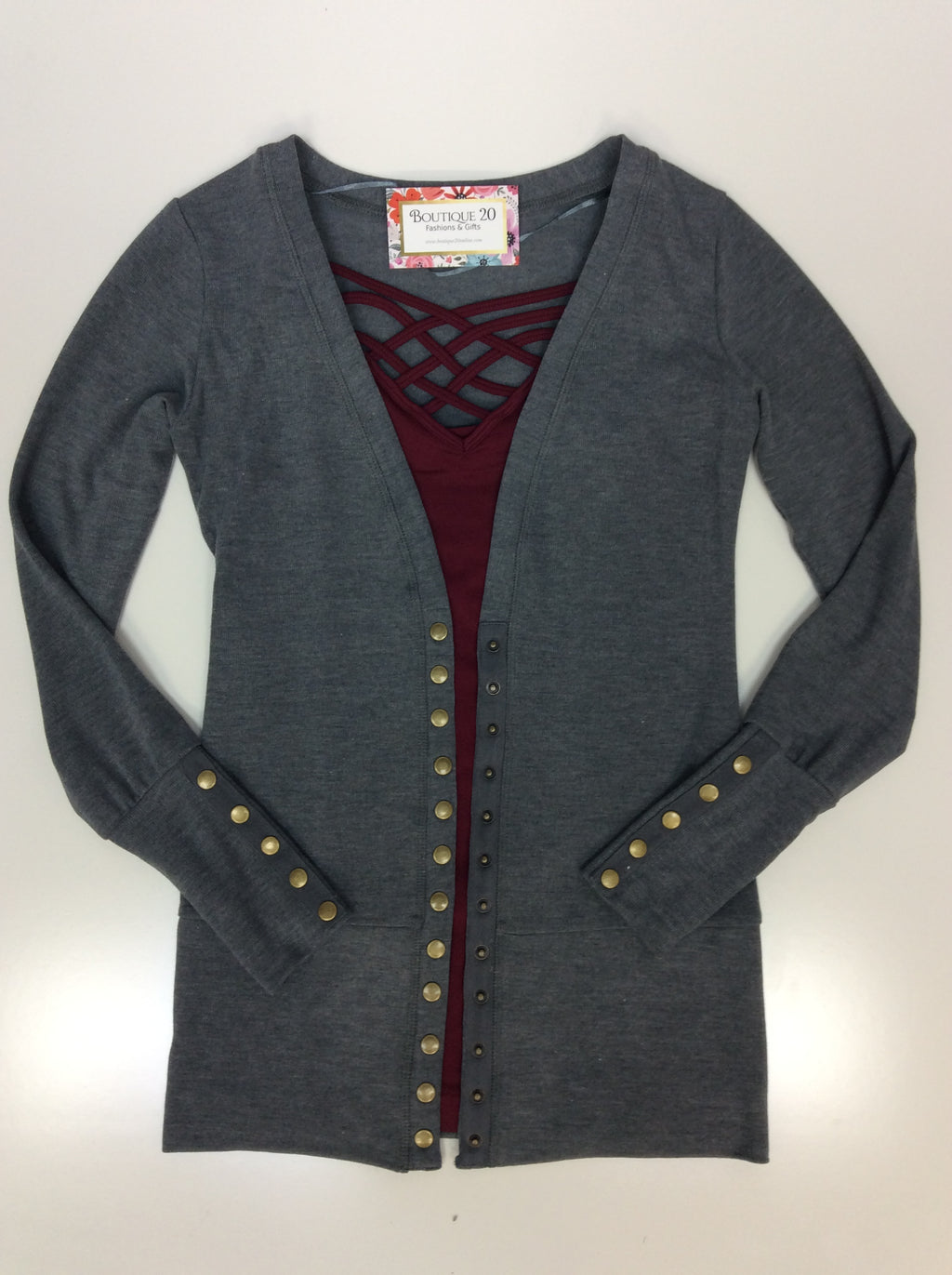 Gotta Have It Snap Detail Cardigan - Grey