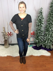 Country Dance Plaid Contrast Top - FINAL SALE CLEARANCE