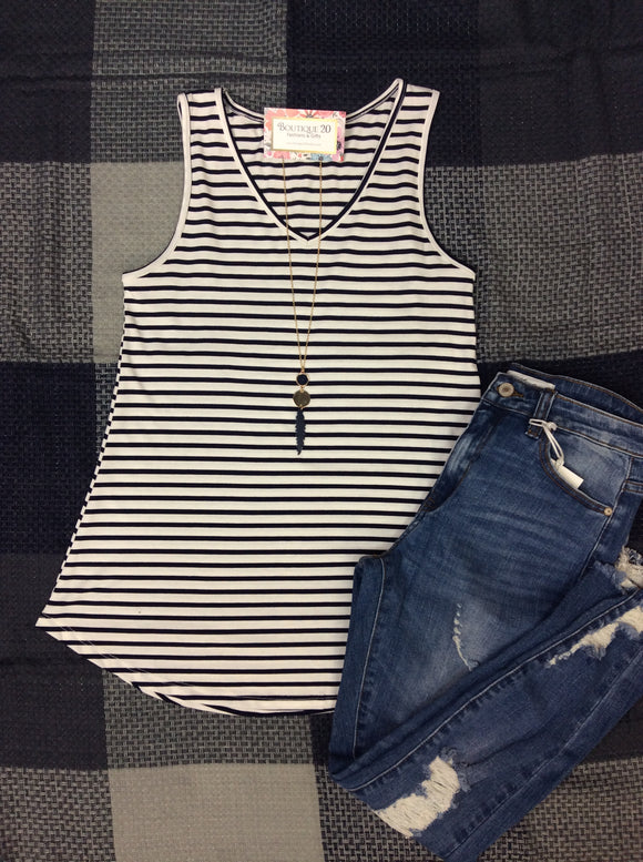 Your Favorite Tank - Navy Stripe