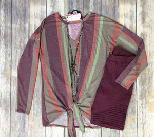 Berry Happy Striped Long Sleeve Top