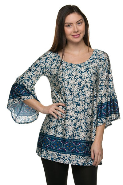 Floral Print  Tunic Dress With Bell Sleeve Detail