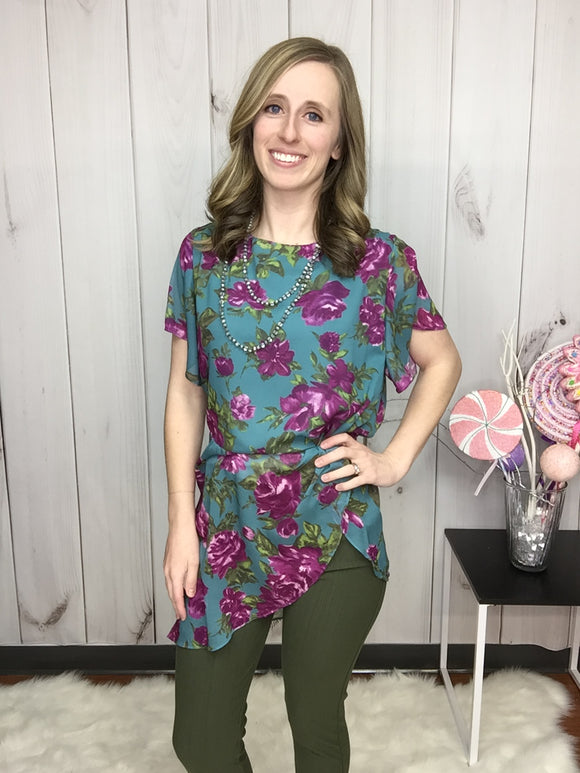 Stay Classy Floral Asymmetrical Tunic Blouse