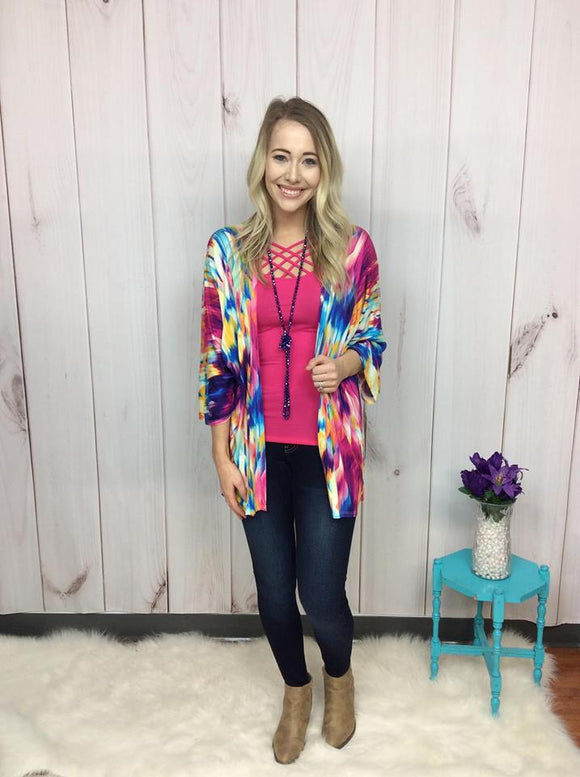 Jewels of Color Kimono Cardigan