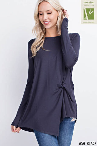 Twisted Front Boat Neck Top