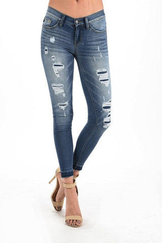 Patch Distressed Skinny Jeans