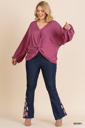 Not So Basic Solid Puff Sleeve Knot Detail Top
