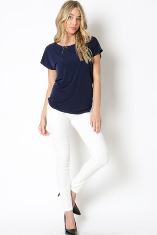 Cinched Side Basic Short Sleeve Top