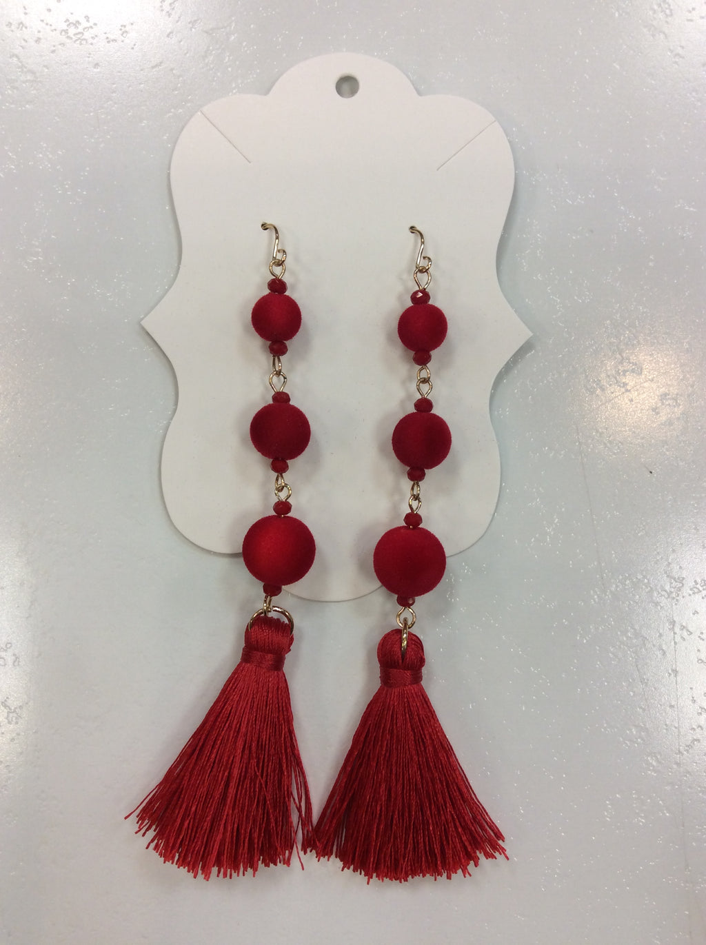 Velvet Ball Earrings with Tassel Detail