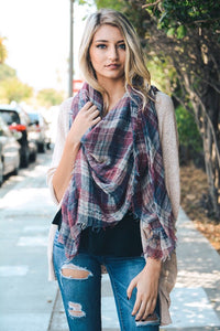Faded Plaid Frayed Scarf