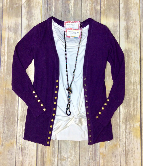 Gotta Have It Snap Detail Cardigan - Plum