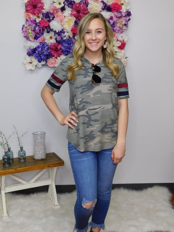 I'm A Firecracker Camo Short Sleeve Top