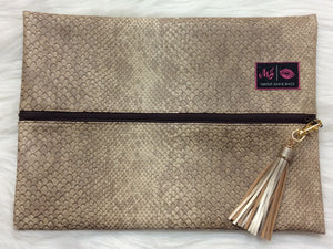 """Brown Cobra"" Makeup Junkie Bag - Large"