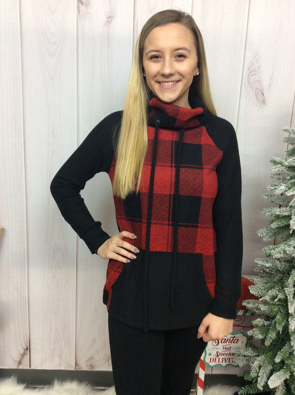 Cozy By The Fire Buffalo Plaid Pullover