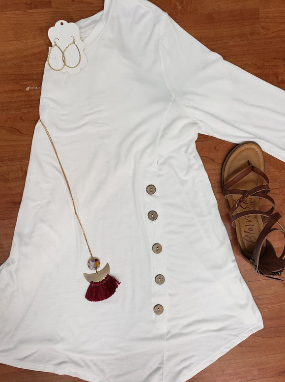 Believe You Can Ivory Tunic With Button Detail