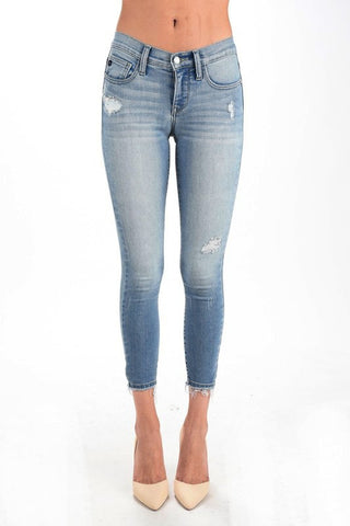 Cropped Ankle Fray Jeans