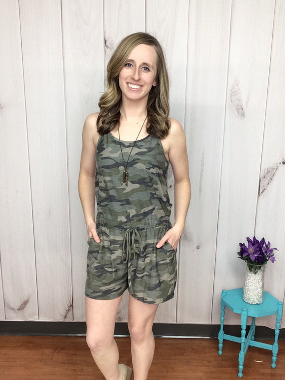 Inside Scoop Camo Romper with Pockets