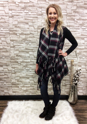 Plaid Draped Open Vest with Tassel Trim Details
