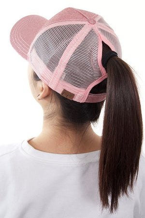 CC Glitter with Mesh Back High Ponytail Cap